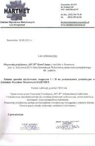 List referencyjny Hartmet 1