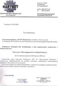 List referencyjny Hartmet 2