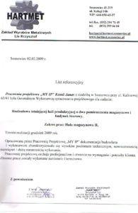 List referencyjny Hartmet 3